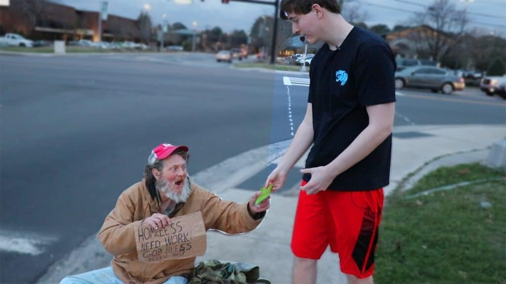 Mr Beast Gives money to the homeless