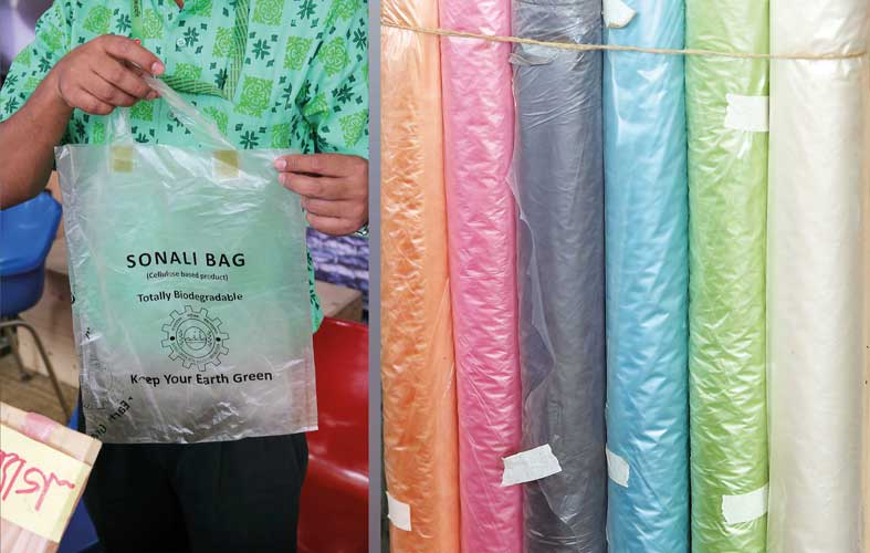 The rolls of biodegradable plastics used in Sonali bags